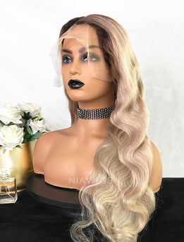 Sabina||Virgin Hair 22 Inches Glueless Full Lace Wig Black  Roots&Platinum Blonde