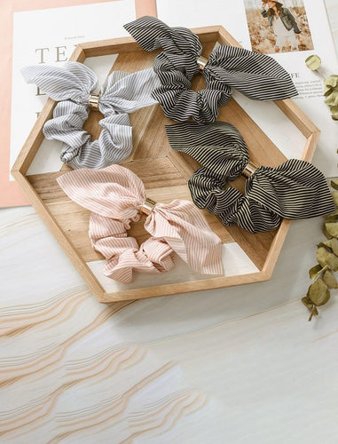 Stylish Stripe Silk Hair Bow Scrunchies with Chic Metal Band