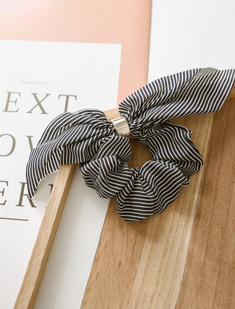 Load image into Gallery viewer, Stylish Stripe Silk Hair Bow Scrunchies with Chic Metal Band