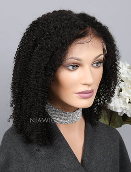 Silk Base Kinky Curly Human Hair Full Stretchable Wigs With Baby Hair