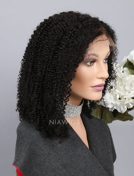 Kinky Curly Human Hair Full Lace Wigs With Middle Parting