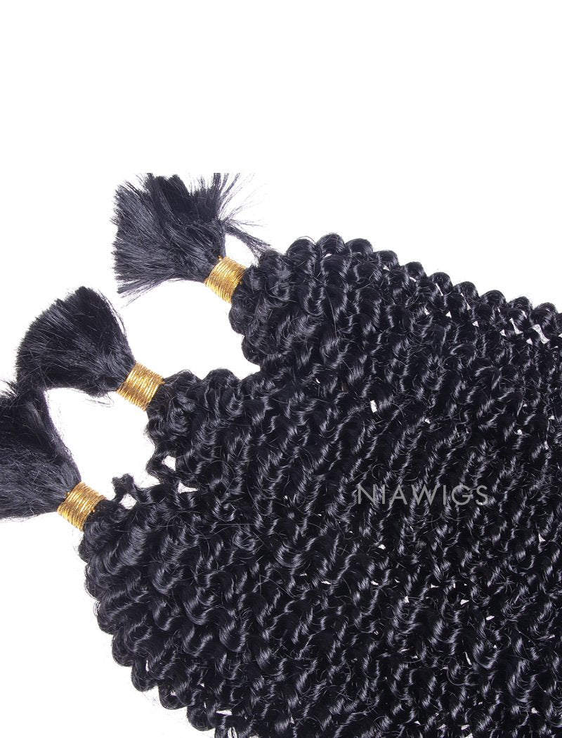 Load image into Gallery viewer, Bulk Human Hair for Braiding #1 Jet Black Kinky Curly Brazilian Hair