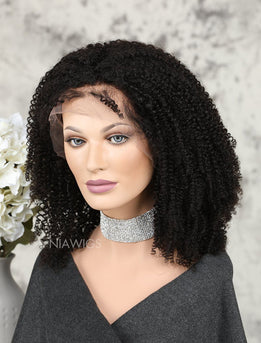 Kinky Curly Human Hair Lace Front Wigs Free Parting For African American