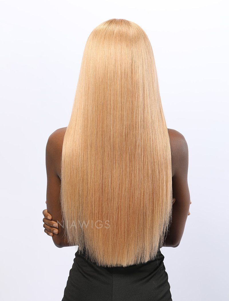 Load image into Gallery viewer, Stephanie||Remy Hair 20 Inches Lace Front Wig #613 Honey Blonde Highlight  #12 Shade Base