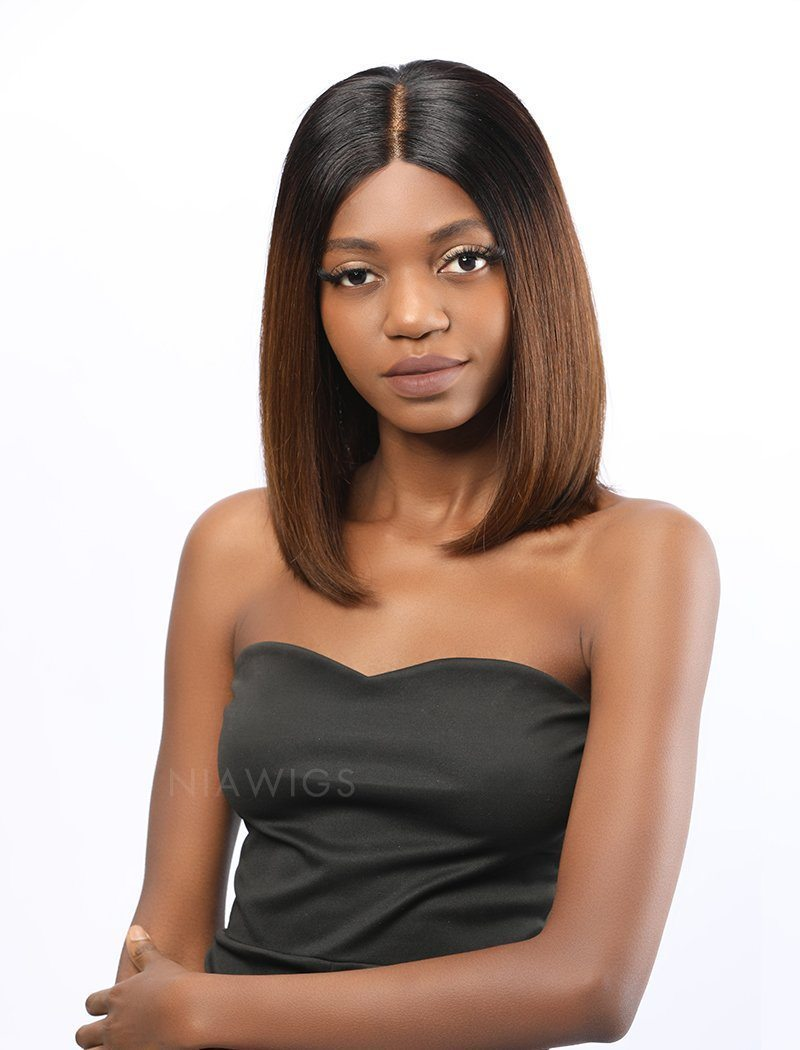 Load image into Gallery viewer, Deja||Virgin Hair 12 Inches Lace Front Wig Ombre 1B/4