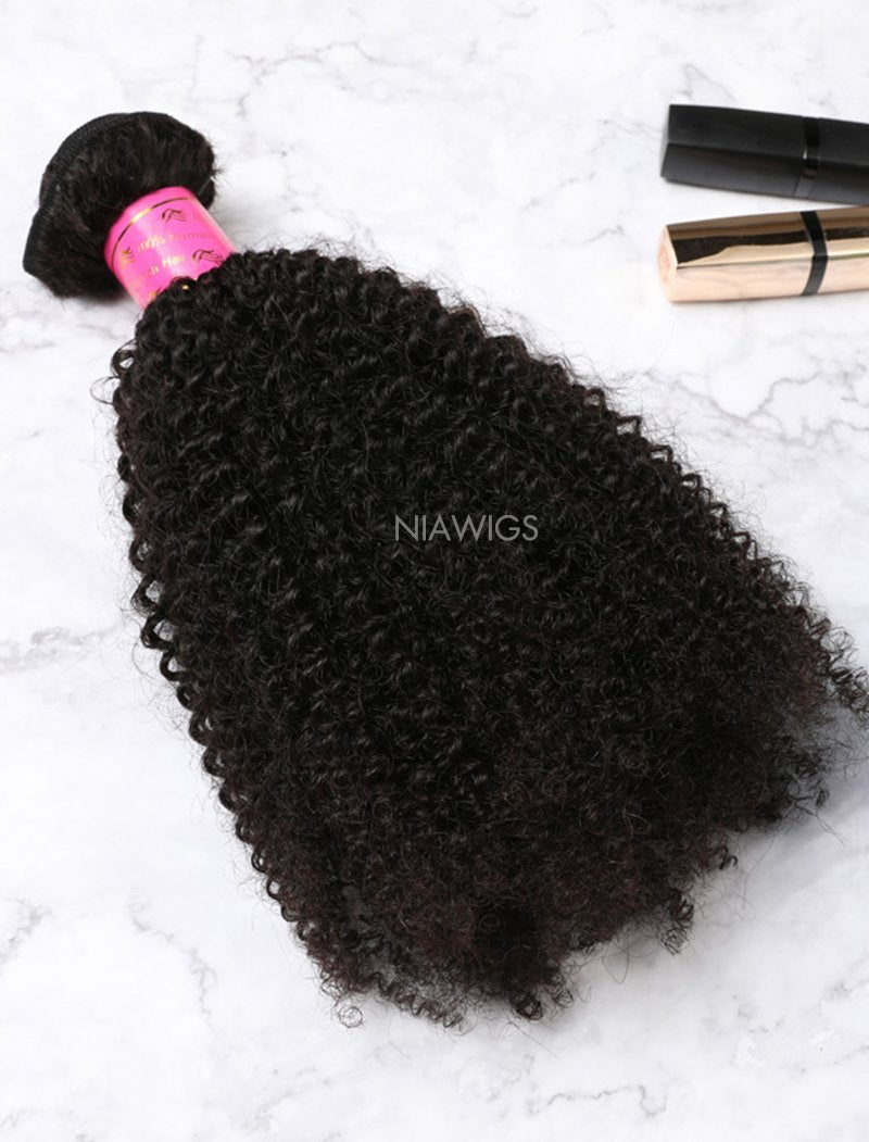 Load image into Gallery viewer, Hair Weft With Lace Closure Natural Color Brazilian Kinky Curly Human  Hair