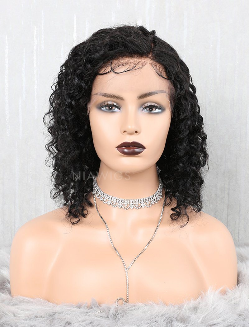 Load image into Gallery viewer, Curly Bob Human Hair Full Lace Wigs With Natural Baby Hair