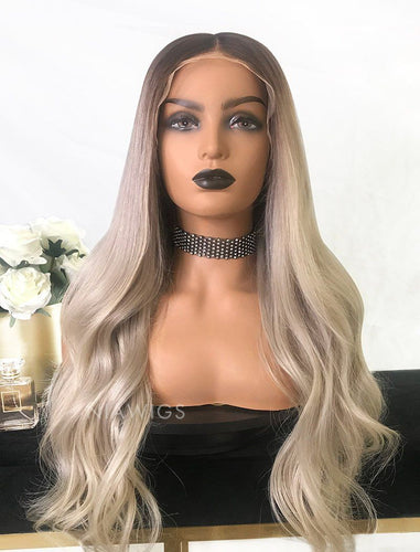 Yvette||Virgin Hair Full Lace Wig 22 Inches Brown Roots & Silvery  Grey
