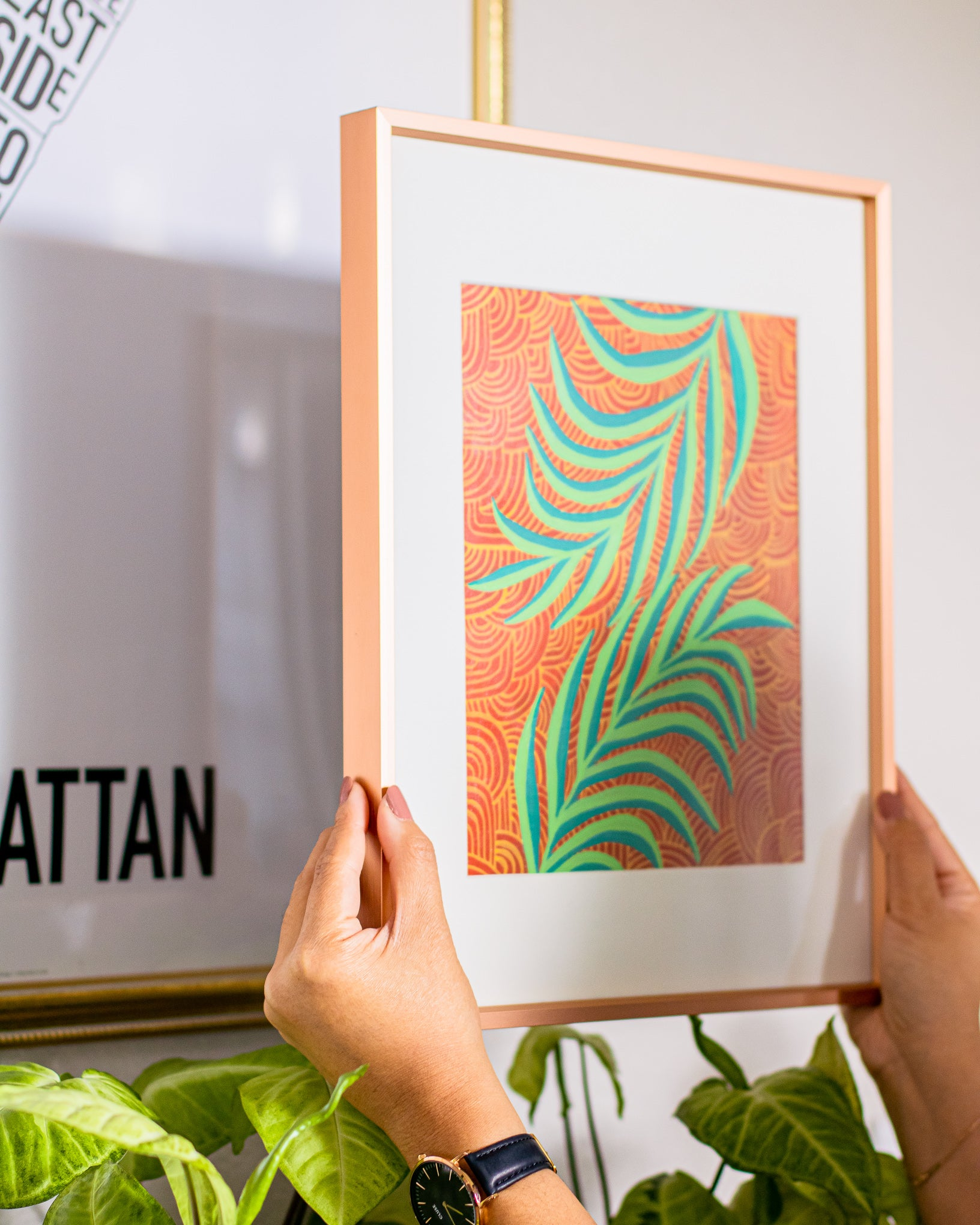 Palm frond art, acrylic on paper in a rose gold frame
