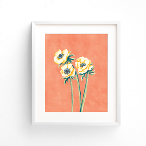 White anemone fine art print in a white frame