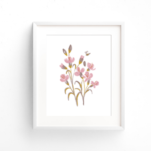 This hand illustrated floral art print features blush pink flowers, purple leaves, and a single bumble bee