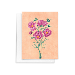 Folded notecard featuring a hand drawn cosmos floral bouquet illustration with pink, green, and peach details in a watercolor texture