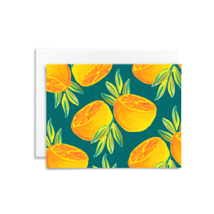 Our signature hand painted orange pair pattern on a forest green background, featured on our eco-friendly stationery