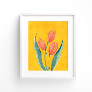 Red French tulip fine art print in a white frame