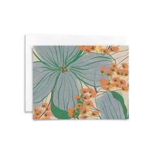 Eco-friendly folded notecard featuring a floral illustration with green, blue, and orange details