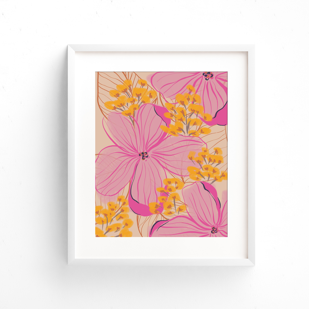 This abstract floral art print features pink and yellow flowers, orange leaves, on a cream colored background