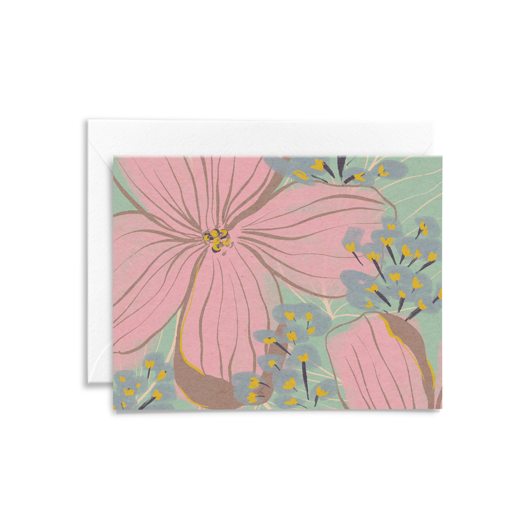 Eco-friendly folded notecard with a pink, blue, and teal colored floral illustration
