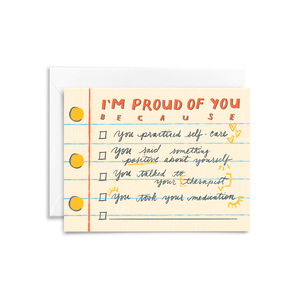 Mental health greeting card featuring a checklist to celebrate small moments of self-care and health
