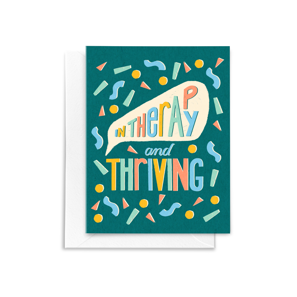 In Therapy and Thriving Mental Health Greeting Card featuring multi-colored confetti on a blue background
