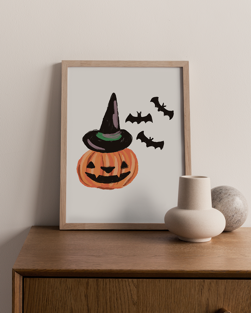 Jack-o-Lantern Witch Digital Art Print