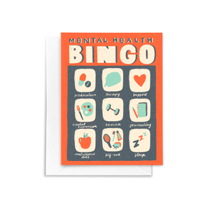 Mental Health BINGO Greeting Card hand illustrated in red, blue, and turquoise