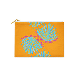 Curated Dry Goods abstract monstera leaf pattern pencil case - orange, turquoise and pink