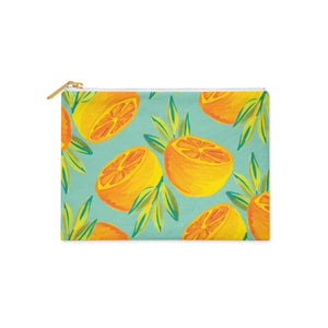 Hand painted orange print pencil case in aqua