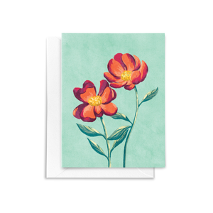 A folded notecard featuring a hand drawn red Peony floral bouquet illustration with red, deep magenta, and yellow details on a textured mint colored background.
