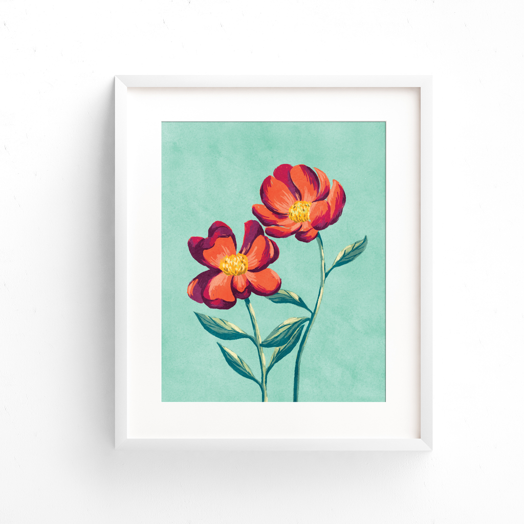Red peony watercolor art print in a white frame