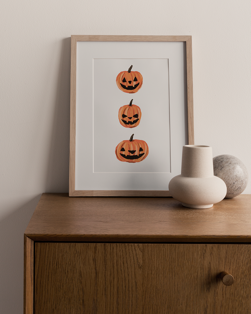 Jack-o-Lantern Pumpkin Trio Digital Art Print