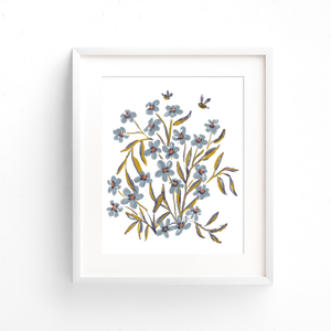 Blue floral bouquet art print printed on eco-friendly paper