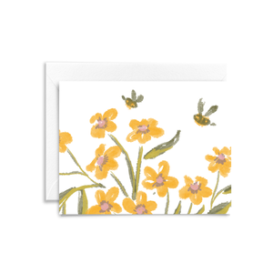 Yellow flowers, green leaves, and two bumble bees are hand illustrated on this eco-friendly folded notecard