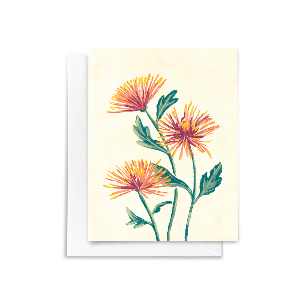 A folded notecard featuring a hand painted Spider Mum floral bouquet illustration with red, yellow, and orange details on a textured cream background.