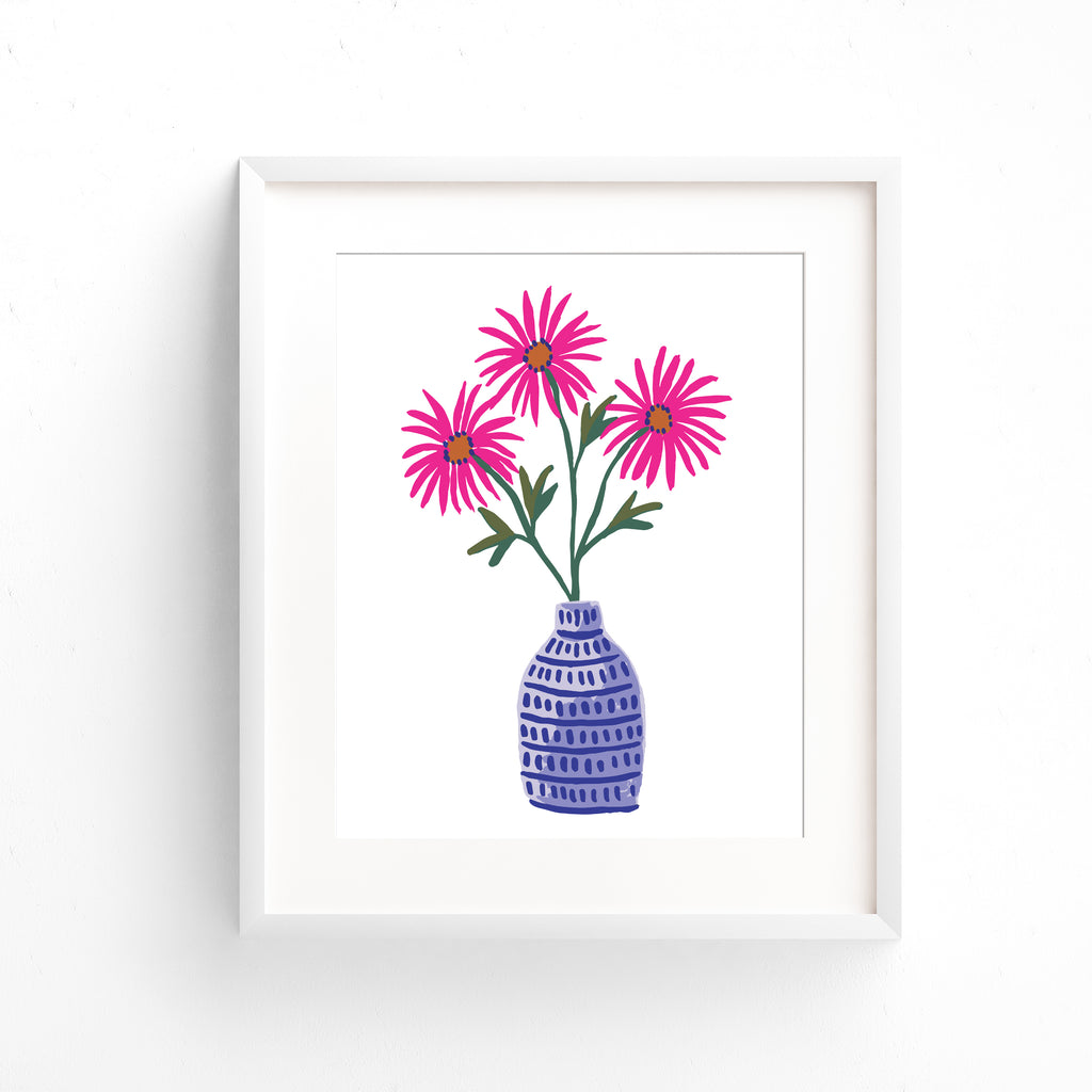 Pink Tahoka Daisy in a periwinkle vase painted in gouache