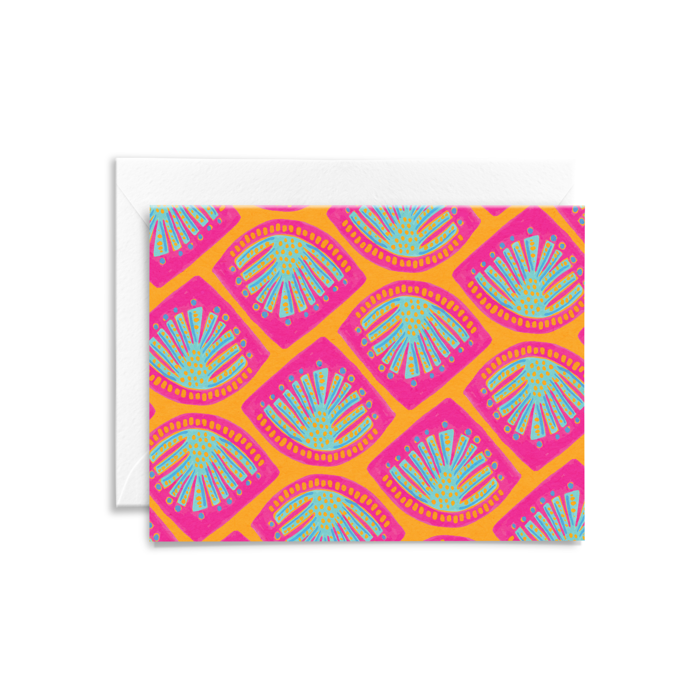 Eco-friendly stationery featuring an abstract monstera leaf pattern in bright pink and orange