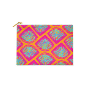 Curated Dry Goods abstract monstera leaf tile pattern pencil case - pink, turquoise and orange