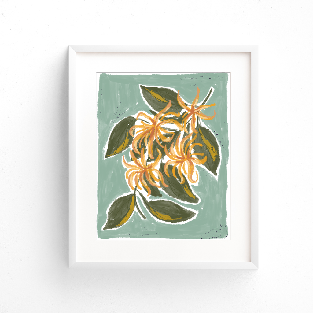 Hand illustrated ylang ylang plant with yellow flowers and green leaves on a seafoam green background