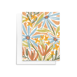 Large blue flowers surrounded by yellow buds and orange blooms on this hand illustrated eco-friendly folded notecard