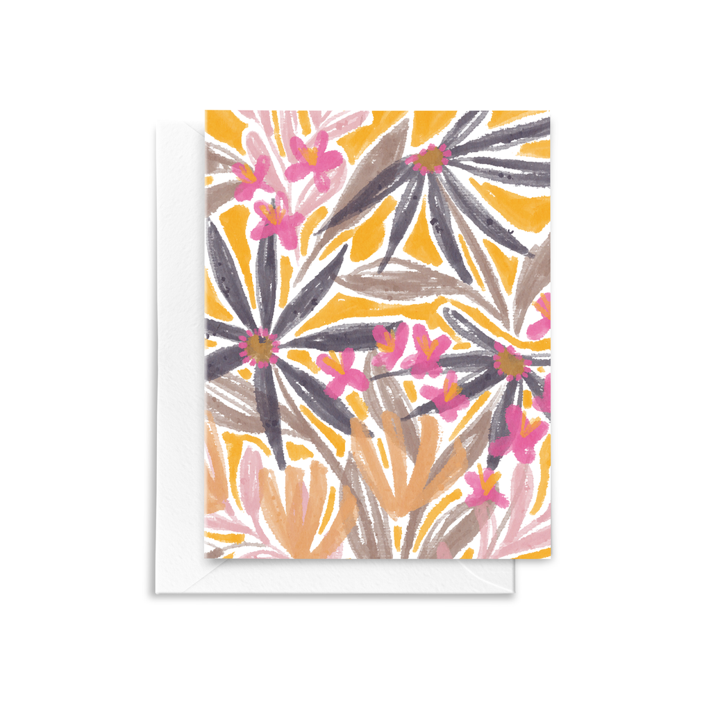 Purple blooms, pink flowers, and peach blooms are hand illustrated on this eco-friendly folded notecard