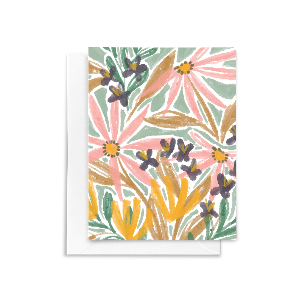 Pink flowers, purple buds, and yellow blooms are hand illustrated on this eco-friendly folded notecard