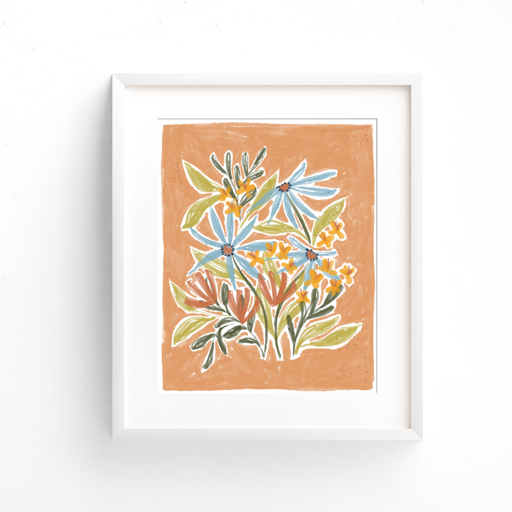 Blue yellow and orange flowers drawn with green leaves on a peach background