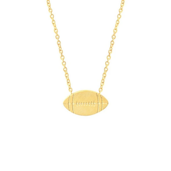 Gold Toned Stainless Steel Football Pendant Necklace