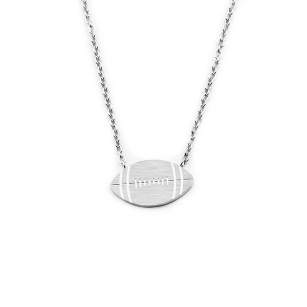 Silver Toned Stainless Steel Football Pendant Necklace