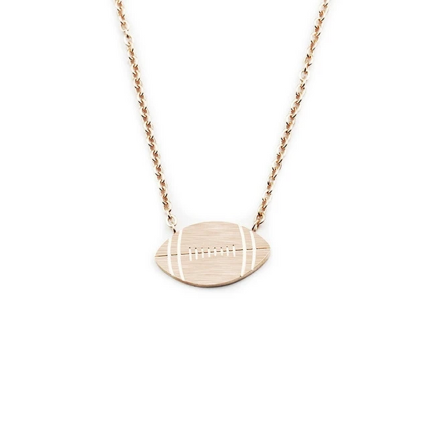 Rose Gold Stainless Steel Football Pendant Necklace