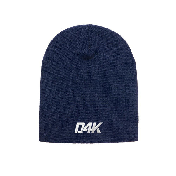 D4K Signature Knit Cap W Logo on Navy Blue