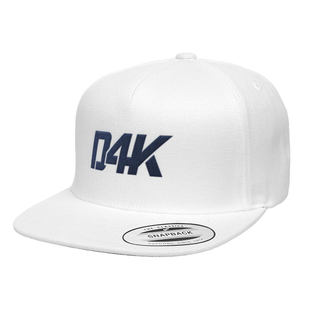 D4K Signature Snapback W Blue Logo on White