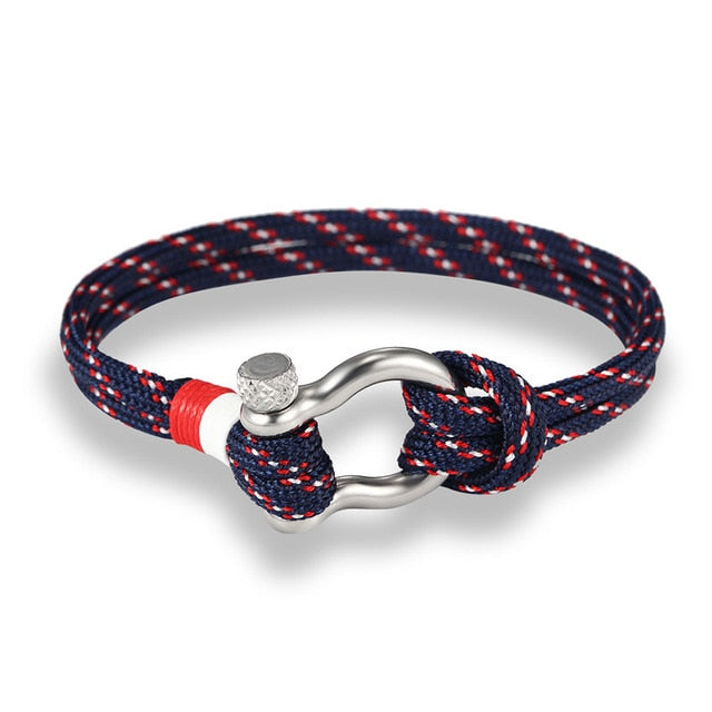 Nautical Blue NE Crew Band with Metal Loop