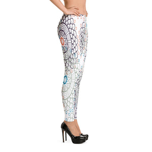 Leggings-Floral Pattern Leggings - JsFashionUS