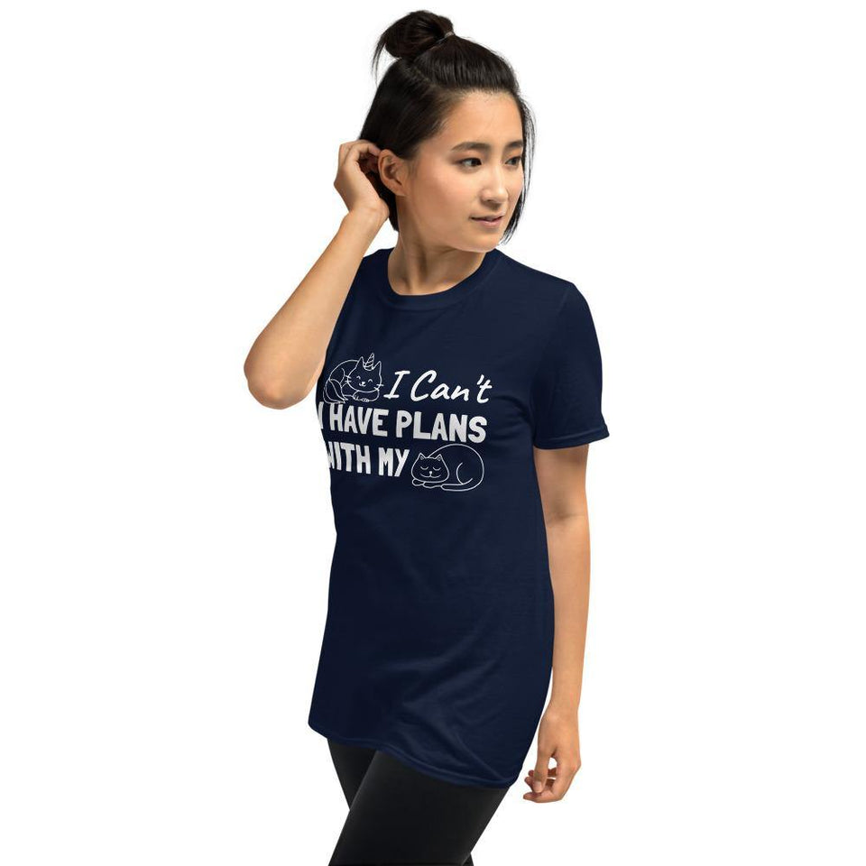 I Can't I Have Plans With My Cat Tee-Short-Sleeve Unisex T-Shirt - JsFashionUS