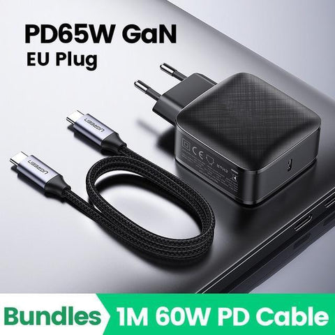 65W GaN EU plug 1 port fast charger with 1 MT 60W PD cable